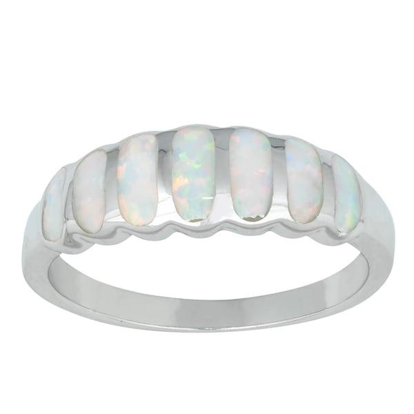 La Preciosa Sterling Silver Created White Opal Striped Ring
