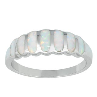 La Preciosa Sterling Silver Created White Opal Striped Ring