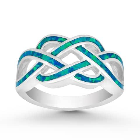 La Preciosa Sterling Silver or Gold Tone Created Blue Opal Intertwined Ring