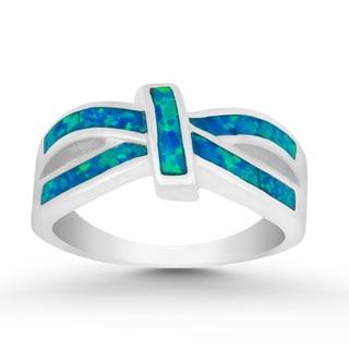 La Preciosa Sterling Silver Created Blue Opal Ring