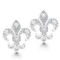 La Preciosa Sterling Silver Cubic Zirconia Fleur De Lis Earrings