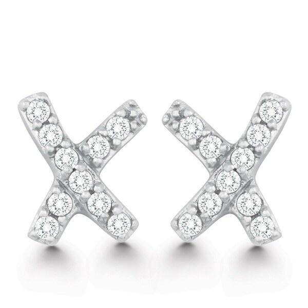 La Preciosa Sterling Silver Cubic Zirconia X Stud Earrings
