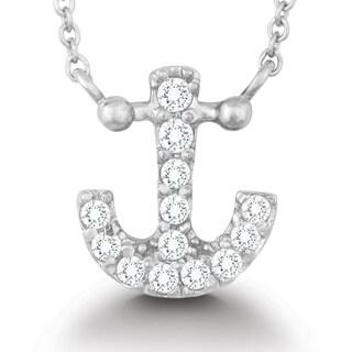 La Preciosa Sterling Silver CZ Anchor Necklace