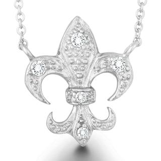La Preciosa Sterling Silver CZ Fleur de Lis Necklace