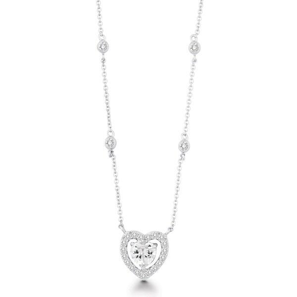 La Preciosa Sterling Silver CZ Heart Necklace