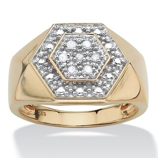Men's .10 TCW Round Diamond Hexagon Ring in 18k Gold over Sterling Silver