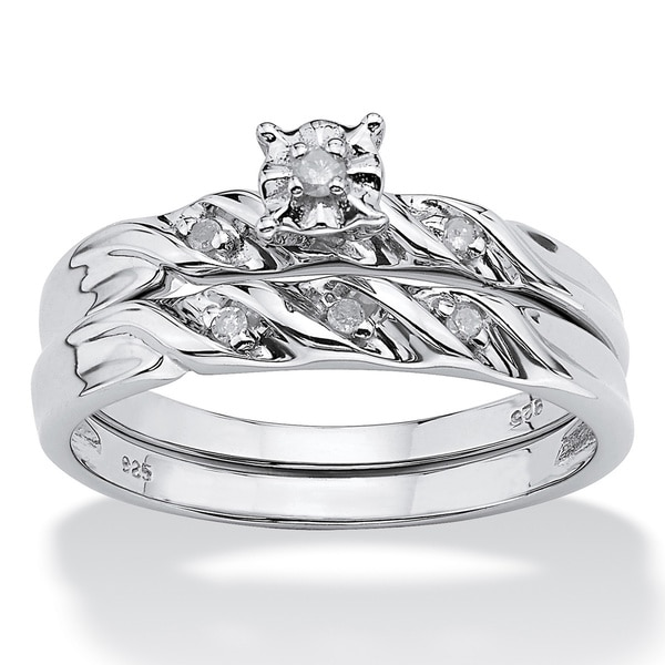 Diamond Accent Platinum over Sterling Silver Bridal Engagement