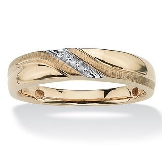 Men's Round Diamond Accent Wave Ring in 10k Gold