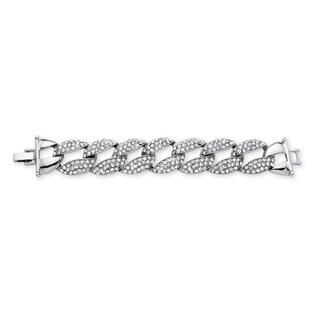 Crystal Curb-Link Bracelet in Silvertone Bold Fashion