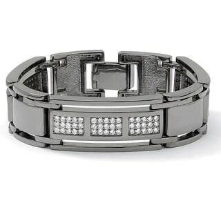 "Men's 4.50 TCW Round Cubic Zirconia Black Rhodium-Plated Bar-Link Bracelet 8 1/2"""