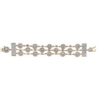 "PalmBeach 7.45 TCW Round Cubic Zirconia 14k Yellow Gold-Plated Triple-Row Station Bracelet 7 1/2"" Glam CZ"