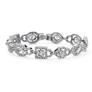 Silver Tone Oval Cut Multi Stone Bracelet Cubic Zirconia (6 3/4 cttw TDW)