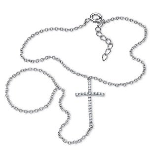 PalmBeach .21 TCW Cubic Zirconia Cross Hand Chain Bracelet in .925 Sterling Silver Bold Fashion