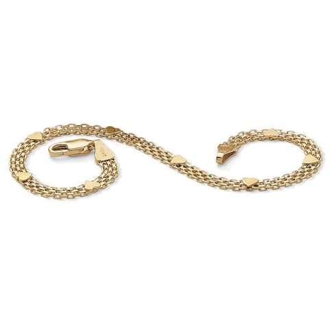 10k Yellow Gold Bismark-Link Heart Bracelet
