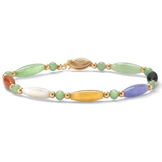 "Multicolor Jade 14k Yellow Gold Beaded and Barrel Shapes Bracelet 7 1/2"" Naturalist"
