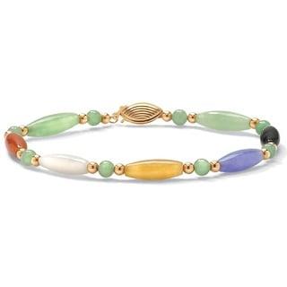 "Link to Multicolor Jade 14k Yellow Gold Beaded and Barrel Shapes Bracelet 7 1/2"" Naturalist Similar Items in Bracelets"