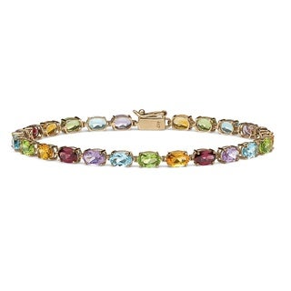 10k Yellow Gold 11 7/8ct TGW Multi-Gemstone Tennis Bracelet