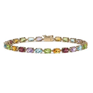 PalmBeach 11.89 TCW Oval-Cut Genuine Multi-Gemstones 10k Yellow Gold Tennis Bracelet 7 1/4""