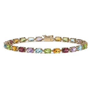 10k Yellow Gold 11 7/8ct TGW Multi-Gemstone Tennis Bracelet|https://ak1.ostkcdn.com/images/products/9726874/P16900565.jpg?impolicy=medium