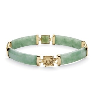 "PalmBeach Green Jade Dragon Link Bracelet in Golden Finish over Sterling Silver 7 1/4"" Naturalist"