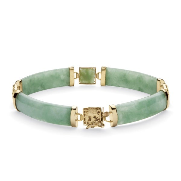 "Green Jade Dragon Link Bracelet in Golden Finish over Sterling Silver 7 1/4"" Naturalist"
