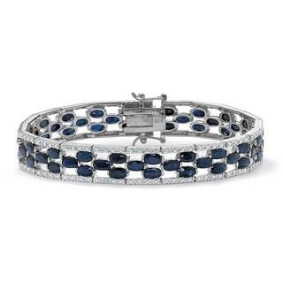 20.65 TCW Oval-Cut Genuine Midnight Blue Sapphire Platinum over Sterling Silver Bracelet 7