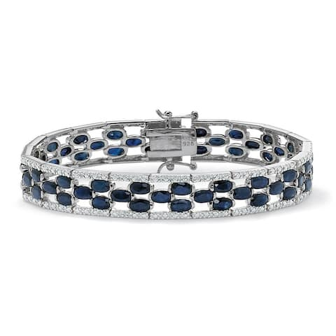 20.65 TCW Oval-Cut Genuine Midnight Blue Sapphire Platinum over Sterling Silver Bracelet 7