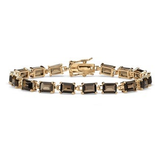 16.0 TCW Emerald-Cut Genuine Smoky Quartz 14k Yellow Gold-Plated Tennis Bracelet 7 1/4""