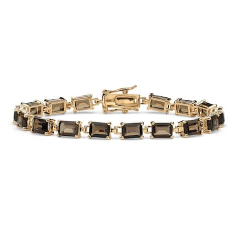 "Yellow Gold-Plated Tennis Bracelet (5.5mm), Emerald Cut Genuine Smoky Quartz, 7.25"""