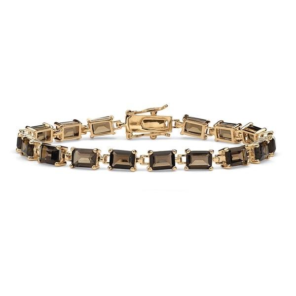 "16.0 TCW Emerald-Cut Genuine Smoky Quartz 14k Yellow Gold-Plated Tennis Bracelet 7 1/4"""