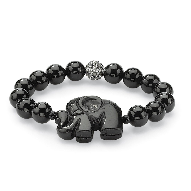 Palm Beach Black Agate Elephant and Crystal Beaded Stretc...
