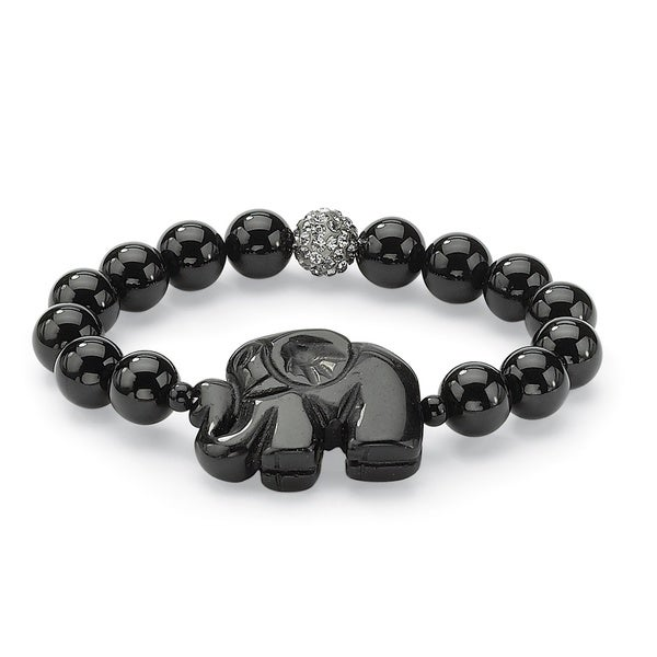 Black Agate Elephant and Crystal Beaded Stretch Bracelet 8o Naturalist