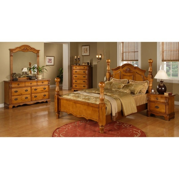 Picket House Vivian Warm Pine 5 Piece Poster Bedroom Set Free