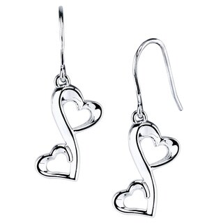 Love Grows Sterling Silver Dual Heart Hook-clasp Earrings