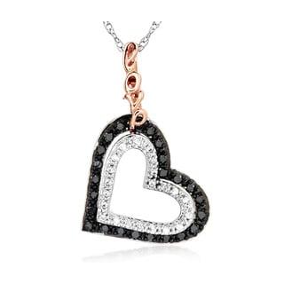 Bridal Symphony 10k Rose Gold and Sterling Silver 1/4ct TDW Diamond Heart Necklace (I-J, I2-I3)