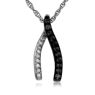 Bridal Symphony Sterling Silver 0.17CTtw Black and White Diamond Wishbone Necklace (Black, I-J, I2-I3)