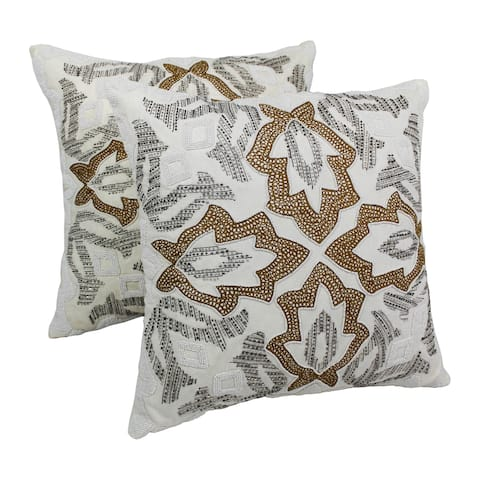 Blazing Needles 20-inch Floral Beaded Throw Pillows (Set of 2)