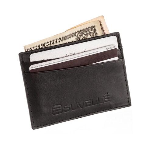 Suvelle Genuine Leather Credit Card Holder Slim Front Pocket Small Wallet Wallet