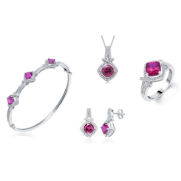 06b0e46196776 Shop Divina Rhodium-plated Brass Created Ruby and Diamond Accent 4 ...