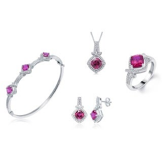 Divina Rhodium-plated Brass Created Ruby and Diamond Accent 4-piece Set