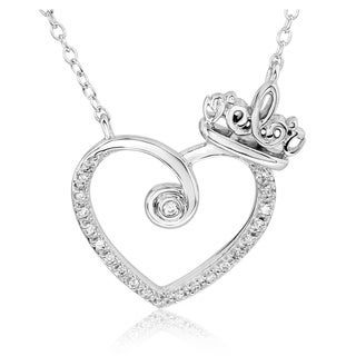 Bridal Symphony Sterling Silver 1/10CTtw Diamond Accent Heart Pendant Necklace (I-J, I2-I3)