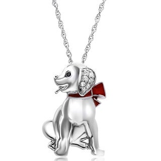 Tender Voices Sterling Silver Diamond Accent Red Enamel Dog Pendant