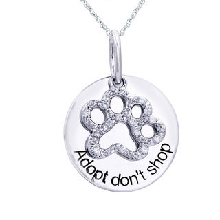 ASPCA Sterling Silver 0.06ct Diamond Accent Dog Paw Pendant (I-J, I2-I3)