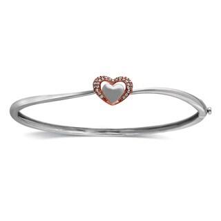 Bridal Symphony Sterling Silver and 10k Rose Gold Diamond Accent Bangle Bracelet (I-J, I2-I3)