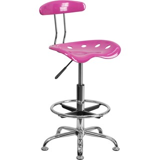 Offex Chrome Drafting Stool with Tractor Seat (Option: Pink)