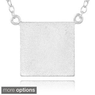Journee Collection Sterling Silver Square Pendant