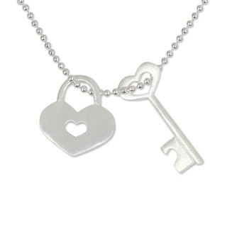 Handmade Sterling Silver 'Key Of Love' Pendant Necklace (Thailand)