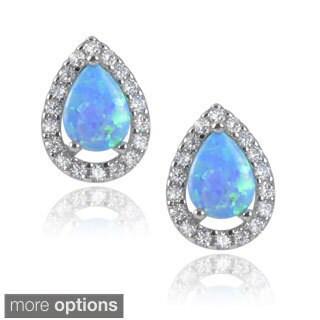 Journee Collection Sterling Silver Teardrop Cubic Zirconia Faux Opal Stud Earrings