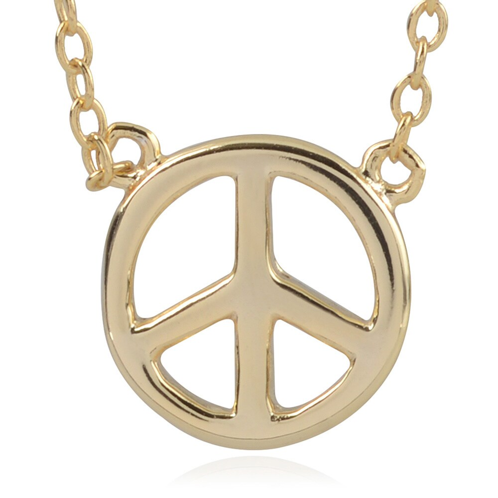 Journee collection Sterling Silver Peace Sign Pendant (Go...