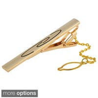 Zodaca Metal Pattern Elegant Tie Clip Bar With Chain For Professionals Business Suit